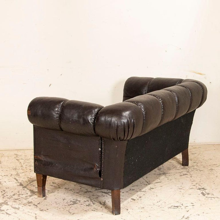 Danish Antique Vintage Brown Leather Sofa, Denmark For Sale