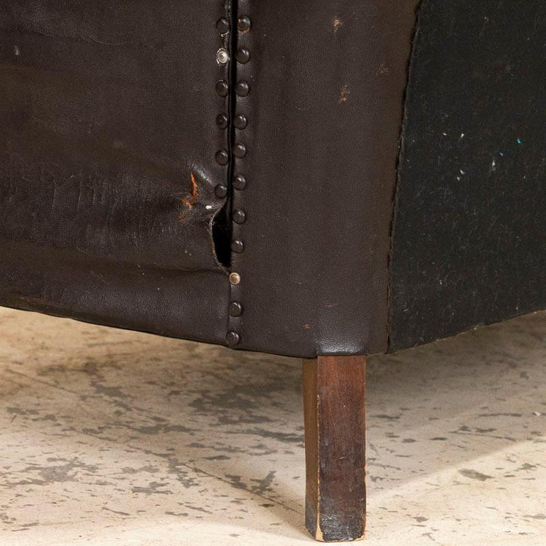 20th Century Antique Vintage Brown Leather Sofa, Denmark For Sale