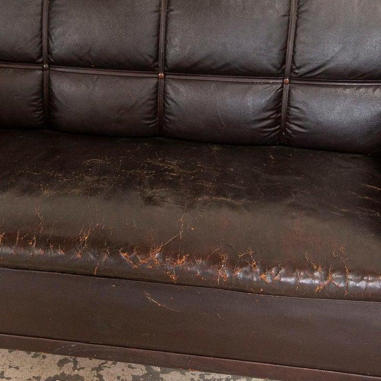 Antique Vintage Brown Leather Sofa, Denmark For Sale 1