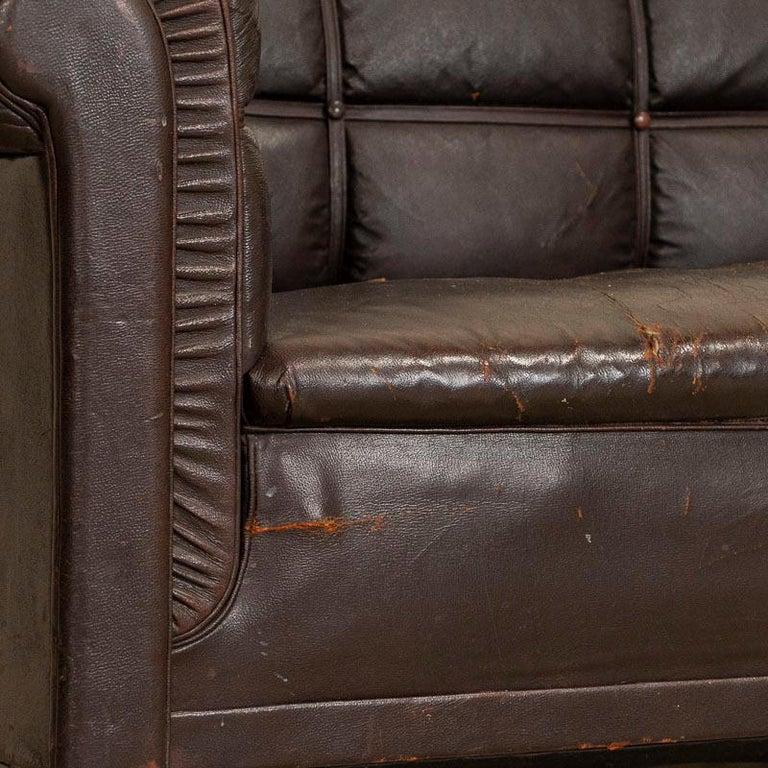 Antique Vintage Brown Leather Sofa, Denmark For Sale 2