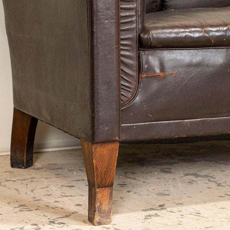 Antique Vintage Brown Leather Sofa, Denmark For Sale 3