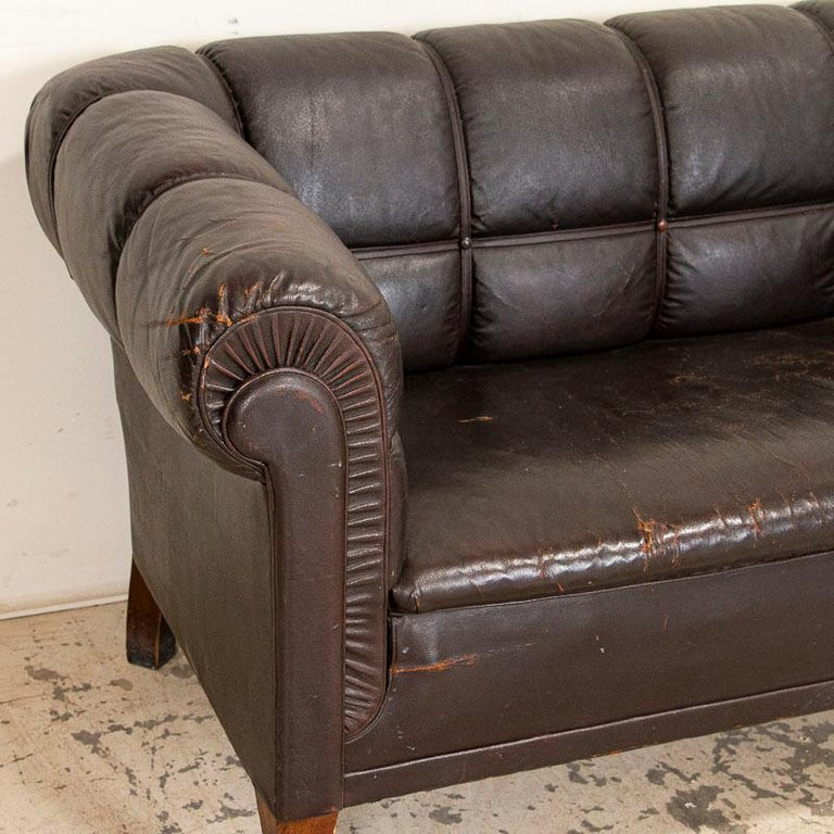 Antique Vintage Brown Leather Sofa, Denmark For Sale 4