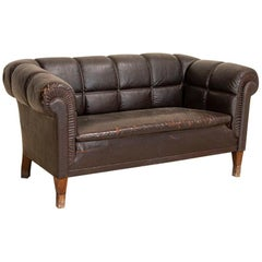 Antique Vintage Brown Leather Sofa, Denmark
