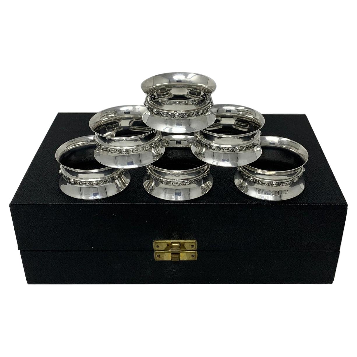 Antique Vintage Cased Set Six Celtic Irish Sterling Dublin Silver Napkin Rings