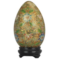 Antique / Vintage Chinese Cloisonné Egg Vase Bronze China Flowers Lotus