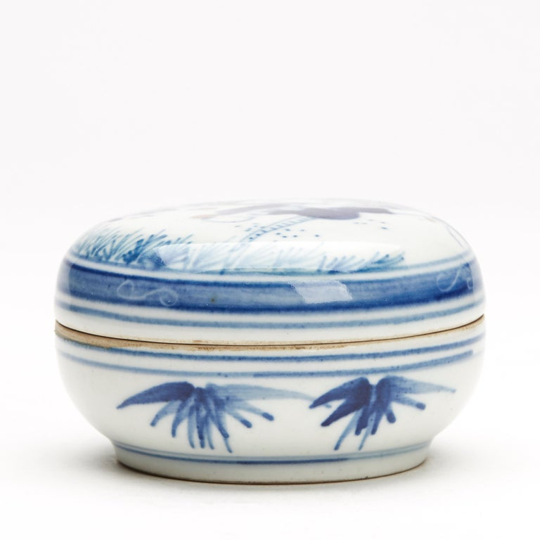 Porcelain Antique/Vintage Chinese Wucai Glazed Figural Box, Late 20th Century For Sale