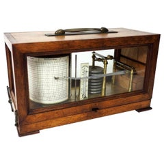 Antique Vintage English Carved Oak Cased Barograph Scientific Weather Machine