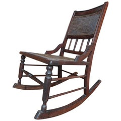 Antique Vintage English Oak Rocking Chair, 1800s