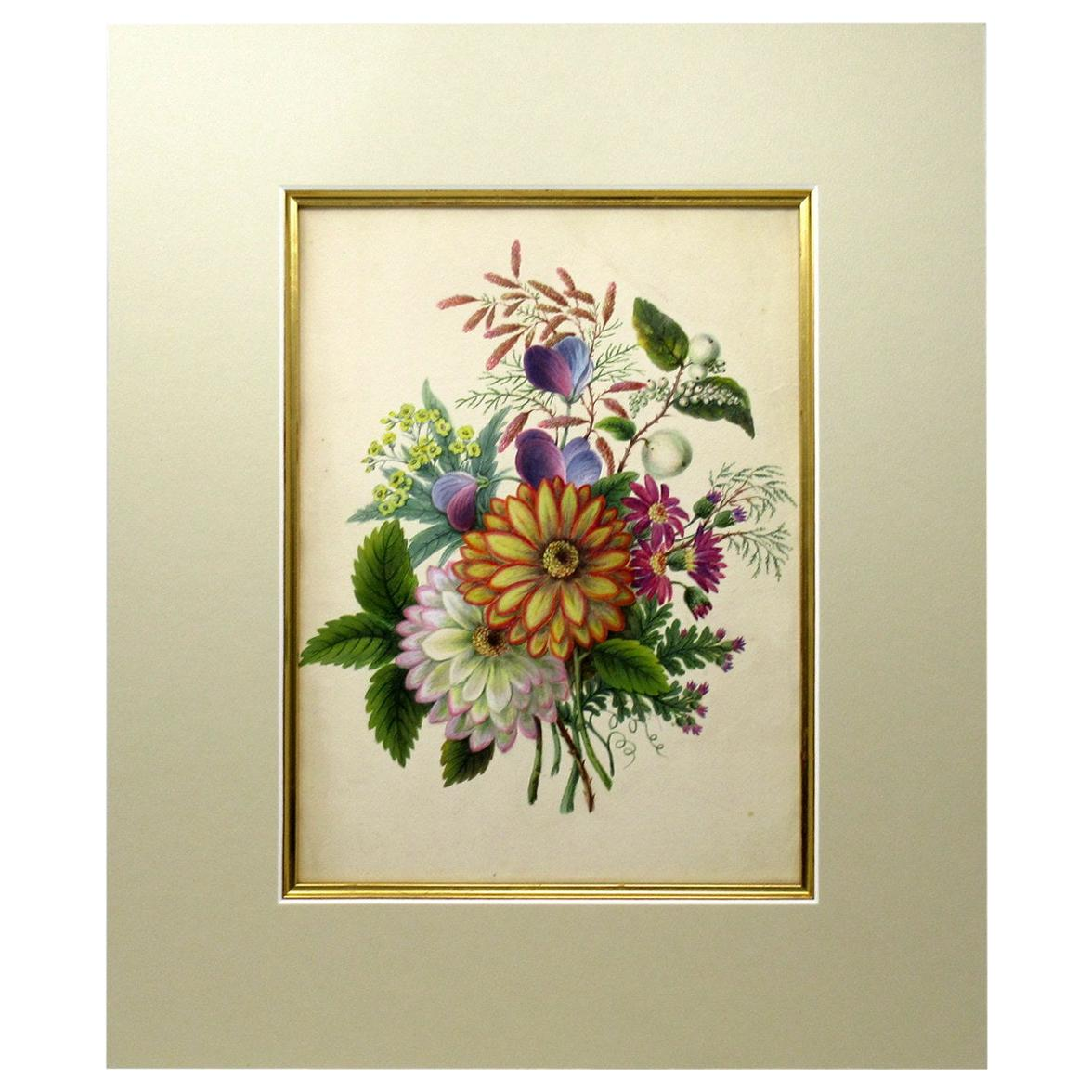 Antique Vintage English Watercolor Painting Still Life of Flowers Gilt