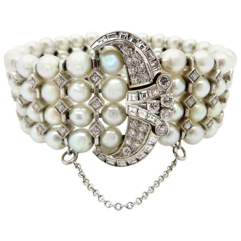 30599f8b22 Antique Vintage Estate 14 Karat White Gold Art Deco Pearl and Diamond  Bracelet