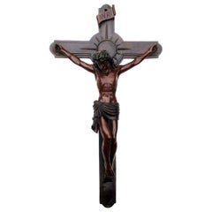 Antique Vintage French Bronze Religious Holy Crucifix Jesus Christ Cross INRI