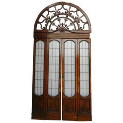 Antique Vintage Glass Door with Rear Window, Brown Walnut, Liberty, 1900, Italy