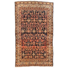 Antique Vintage Ivory Navy Blue Brown Tribal Persian Hamedan Rug, circa 1940s