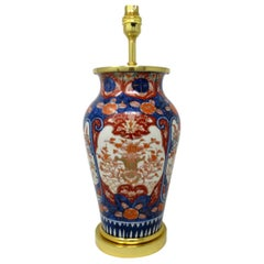 Antique Vintage Japanese Chinese Imari Porcelain Ormolu Table Lamp Blue Red Gilt