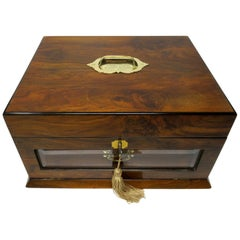 Antique Vintage Lady's Gentleman's Walnut Jewelry Documents Box Casket