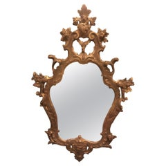 Antique Vintage Mirror Richly Carved and Gilded, Floral Decor, '900, Italy