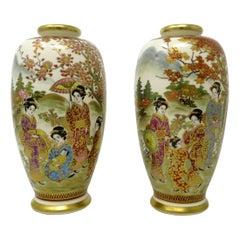 Antique Vintage Pair Japanese Hand Painted Gilt Vases Meiji Period Japan Figures