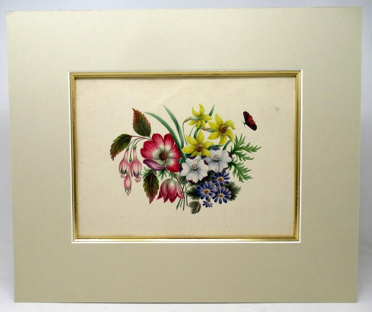 An exceptionally fine quality pair of watercolor paintings on paper of English origin, circa 1900.  Professionally re-mounted on artists card within a gold leaf wooden slip. These Pictures are offered unframed.   These delightful Paintings
