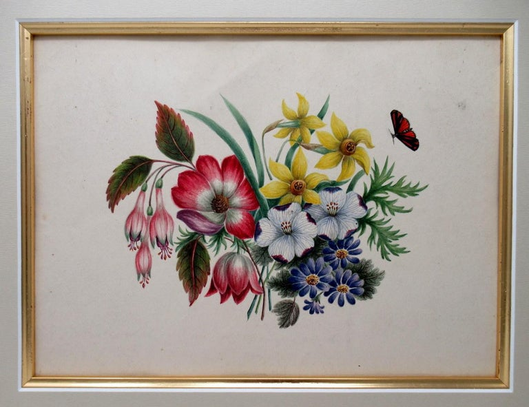 Antique Vintage Pair of English Watercolor Paintings Still Life of Flowers Gilt In Good Condition For Sale In Dublin, Ireland