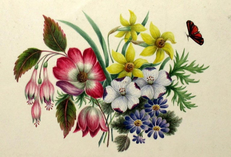 Antique Vintage Pair of English Watercolor Paintings Still Life of Flowers Gilt For Sale 2