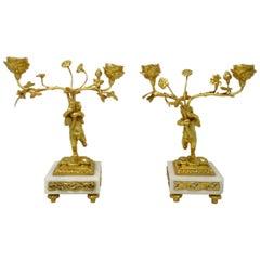 Antique Vintage Pair of French Marble Gilt Bronze Dore Candelabra Candlesticks