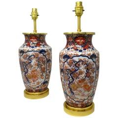 Antique Vintage Pair of Imari Porcelain Ormolu Table Lamps Cobalt Blue Red