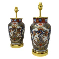 Antique Vintage Pair of Japanese Imari Porcelain Ormolu Lamps Cobalt Blue Red