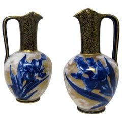 Antique Vintage Pair of Royal Doulton Burslem Cobalt Blue Iris Flower Ewers