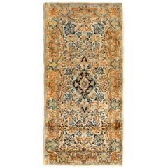 Antique Vintage Persian Ivory Gold Blue Floral Kirman Small Rug, circa 1930s
