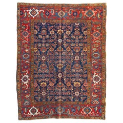 Antique Vintage Persian Red Gold Navy Blue Geometric Heriz Area Rug, circa 1920s