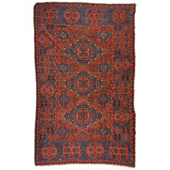 Antique Vintage Red and Blue Caucasian Soumak Tribal Flat-Weave Rug, circa 1930s