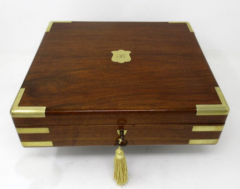 Georgian Antique Vintage Solid Mahogany Wooden Jewelry Box Casket Brass Bound 19th Cent For Sale