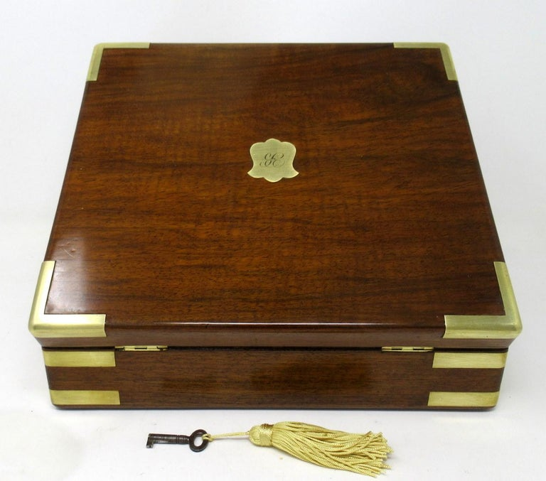 English Antique Vintage Solid Mahogany Wooden Jewelry Box Casket Brass Bound 19th Cent For Sale