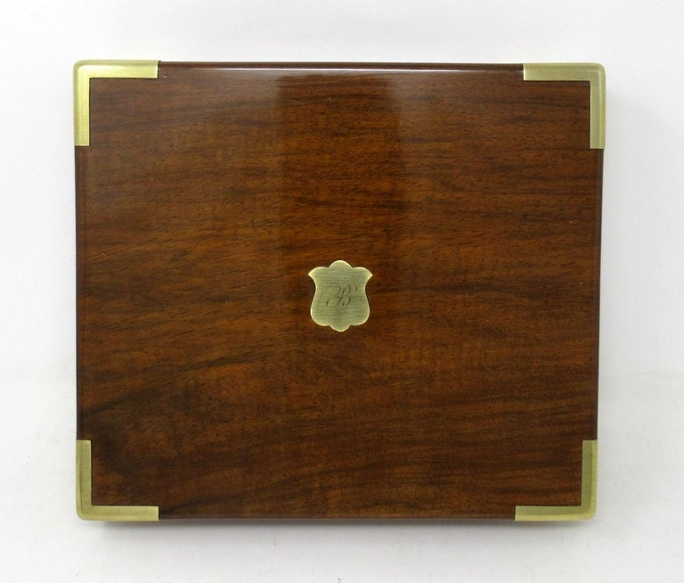 Antique Vintage Solid Mahogany Wooden Jewelry Box Casket Brass Bound 19th Cent In Good Condition For Sale In Dublin, Ireland