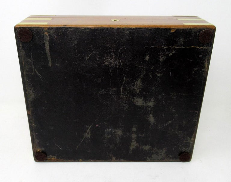 Antique Vintage Solid Mahogany Wooden Jewelry Box Casket Brass Bound 19th Cent For Sale 1