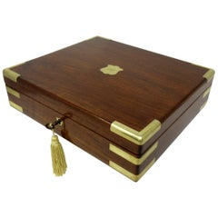 Antique Vintage Solid Mahogany Wooden Jewelry Box Casket Brass Bound 19th Cent