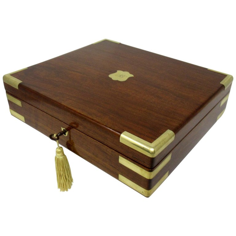 Antique Vintage Solid Mahogany Wooden Jewelry Box Casket Brass Bound 19th Cent For Sale