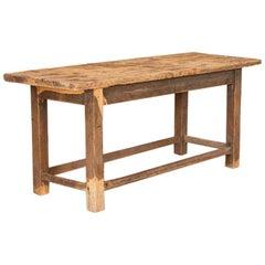 Antique Vintage Work Table Rough Hewn Console Table