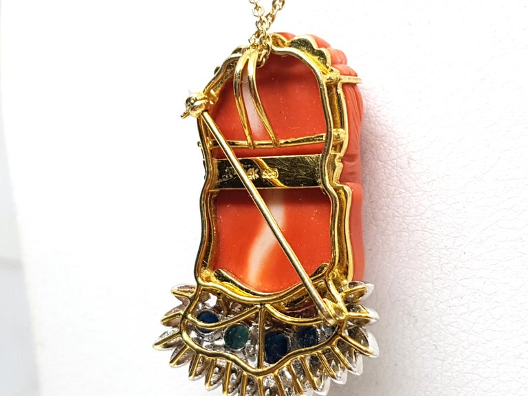Antique Vintage Yellow Gold Coral Sapphire Diamond Brooch Pendant For Sale 4