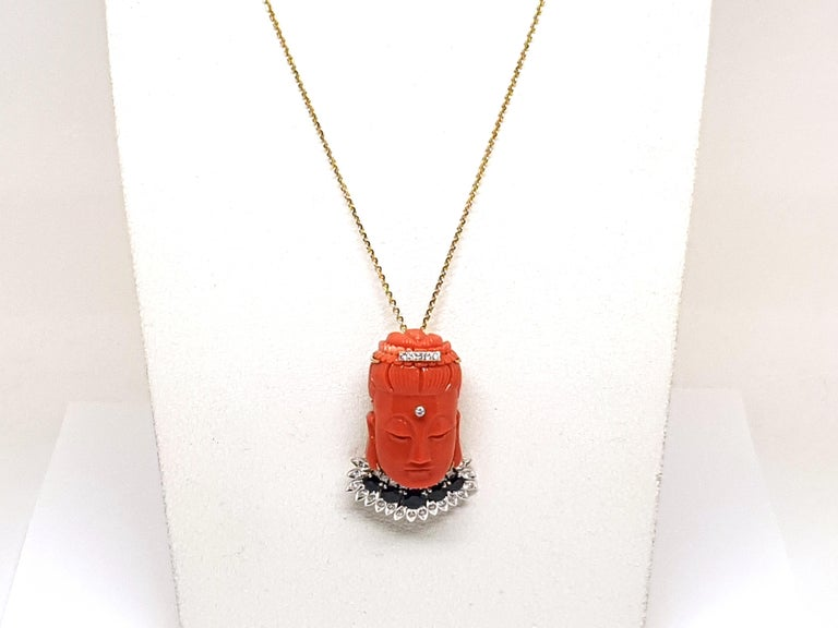 Antique Vintage Yellow Gold Coral Sapphire Diamond Brooch Pendant For Sale 12