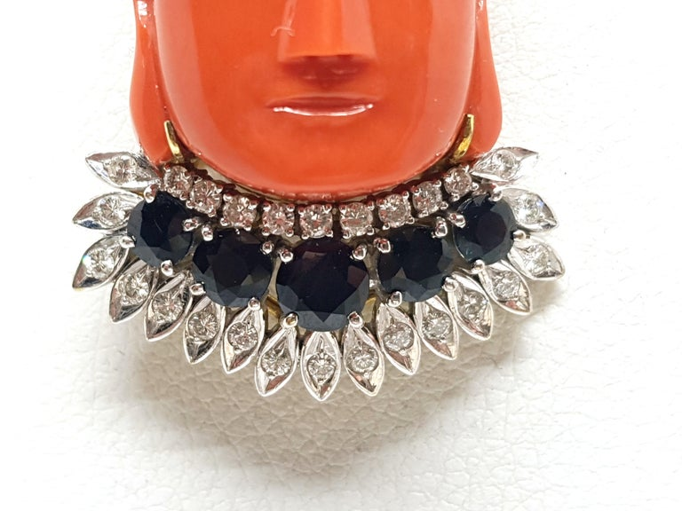 Antique Vintage Yellow Gold Coral Sapphire Diamond Brooch Pendant In Good Condition For Sale In Antwerp, BE