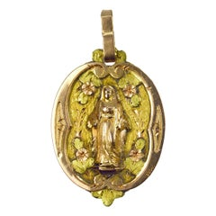 Antique Virgin Mary 18k Gold Charm Pendant