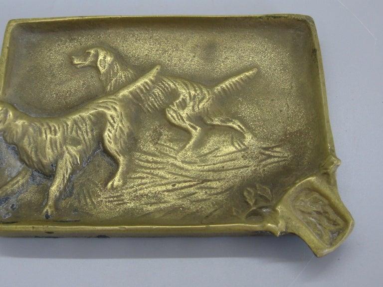 North American Antique Virginia Metalcrafters Irish Setter Figural Dog Brass Desk Ashtray For Sale