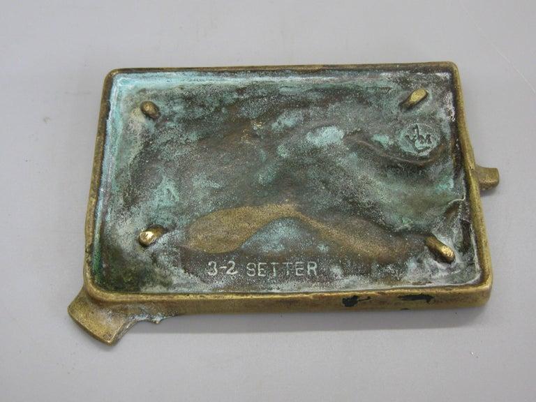 Antique Virginia Metalcrafters Irish Setter Figural Dog Brass Desk Ashtray For Sale 1