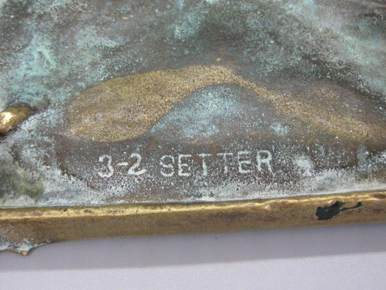 Antique Virginia Metalcrafters Irish Setter Figural Dog Brass Desk Ashtray For Sale 3