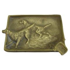 Antique Virginia Metalcrafters Irish Setter Figural Dog Brass Desk Ashtray