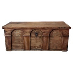 Antique Wabisabi Style Hand Carved Wooden Chest