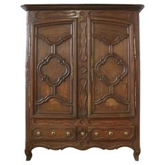 Antique Wall Cabinet Armoire 18th Century French Faux Front Wardrobe Carved Oak