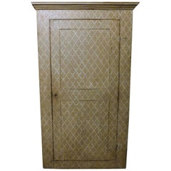 Antique Wall Cabinet, Cupboard, Placard, Gray Painted Wallpaper, 1800, Italy