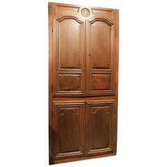 Antique Wall Cabinet Door Placard Carved Walnut, Four Doors, 18th Century, Italy